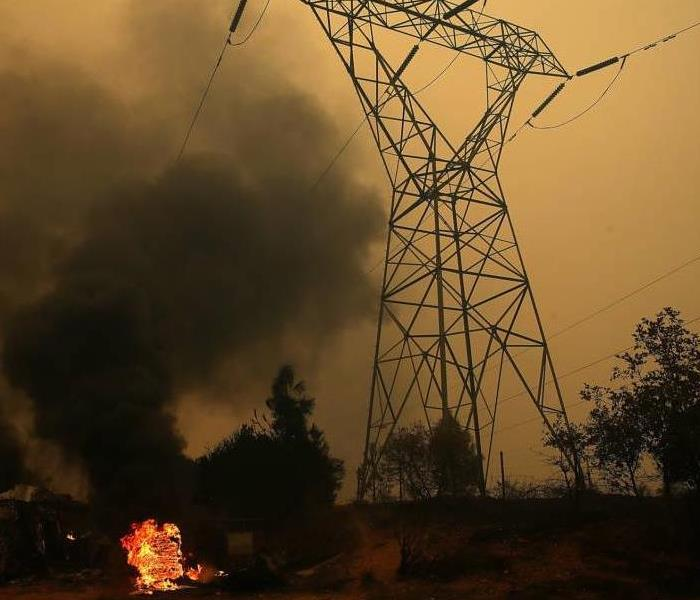 Power line fire