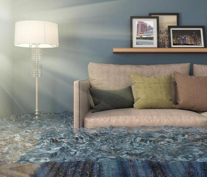 living room with water up to couch cushions, lamp and pictures on shelf